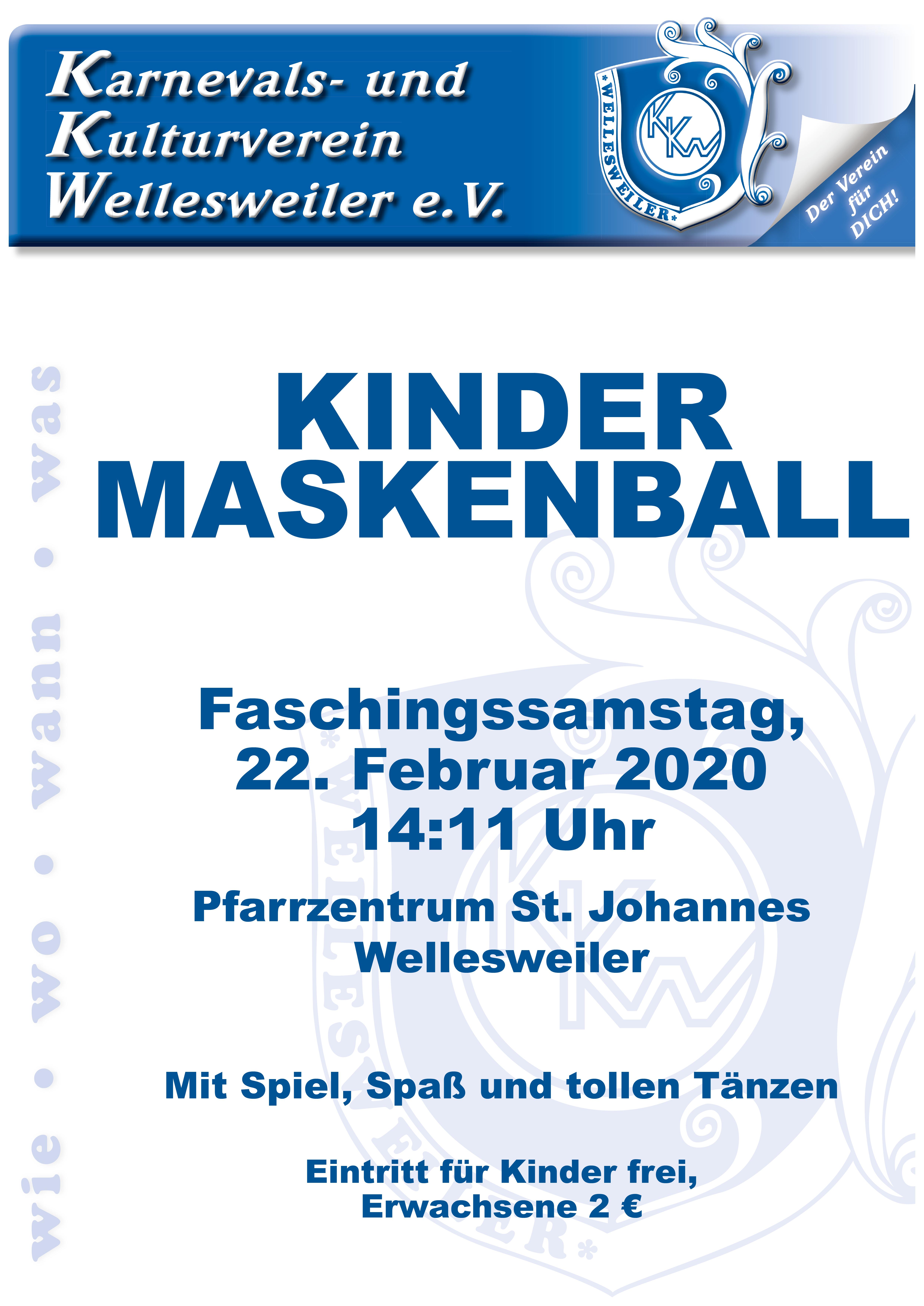 Plakat Kindermaskenball 2020